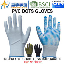 Guantes de trabajo, 13G poliéster Shell PVC puntos guantes revestidos (D3101) con CE, En420