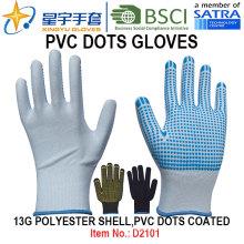 Рабочие перчатки, 13G полиэфирные оболочки ПВХ точки покрытые перчатки (D3101) с CE, En420