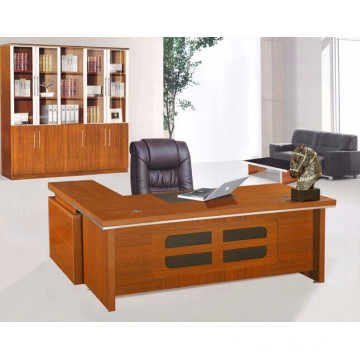 2015 hot sale melamine modern L-type office table with side table