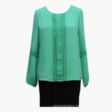 Feminina Long Sleeves Lace Patchwork Blouse