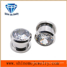 Fashion Single Zircon Body Piercing Ear Plug