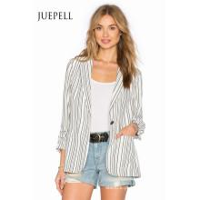 Moda listra terno escritório mulheres jaqueta