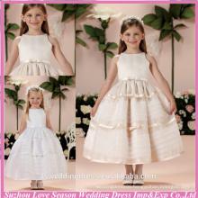 HF2004 Champagne jewel neckline plain satin top bow band organza ball gown skirt zipper tea length beautiful flower girl dresses