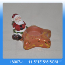Wholesale ceramic Christmas Santa candle holder