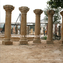 Colonne de sculpture en pierre de marbre jaune de grès (SY-C007)