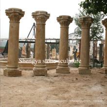 Песчаник желтый мраморный камень скульптуры колонка (SY-C007)