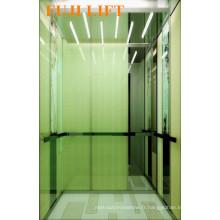 Cabine de verre Passager Ascenseur avec main courante en acier inoxydable