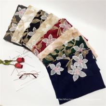 New arrival National wind cotton viscose scarf short tassel pure color pakistani hijab embroidery hijab