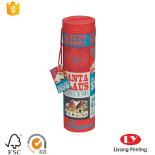 cylinder paper Christmas gift box with handle