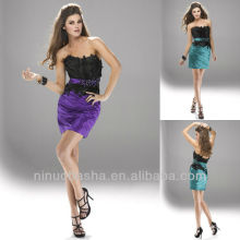 Chic Strapless Waistband Feather Mini Short Rhinestone Graduation Dress Homecoming Gown