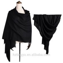 Moda feminina sólida impresso 100% lã pashmina xale cachecol com borlas
