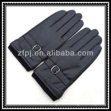 Mens de punto guantes elásticos de cuero de la muñeca con agraffe