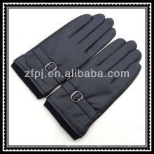 mens knit elastic wrist leather palm gloves with agraffe