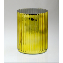 Cylindrical Golden Candle Holder with Vertical L Flute