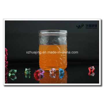 600ml 20oz boca larga em relevo frascos de vidro Mason