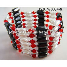 Magnetic Red Glass Beaded wrap Bracelets & Necklace 36""