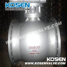 Válvulas de esfera excêntricas de aço fundido com caixa de engrenagens