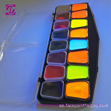 Fluorescerande 12Colors UV Face Body Paint Pallet