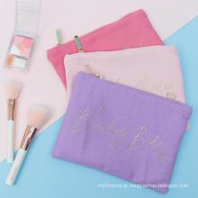 Bolsa de cosméticos pequena para maquiagem com tela dourada pequena