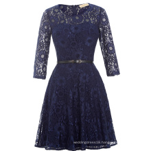Kate Kasin 3/4 Sleeve Round Neck Short Navy Lace Prom Dress KK000205-1