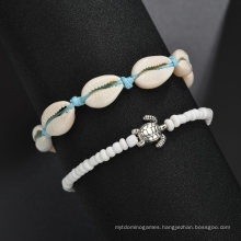 Creative Beach Turtle Shell Beads Push-Pull Anklet 2 Pieces Set