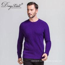 Oem de fábrica Suéter de cachemira de alta calidad cuello redondo de manga larga de punto de los hombres coreanos suéter liso