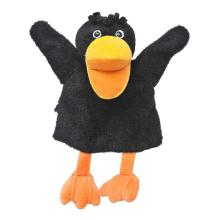 Classic version long hair black duck hand puppet toys
