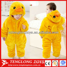 Cartoon animal shaped duck plush baby winter romper wholesale