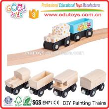 Escuela Actividades Juguetes Niños Pintura Naturaleza Madera DIY Mini Toy Train