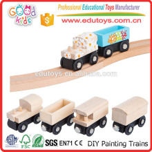School Activities Toys Kids Painting Nature Wood DIY Mini Toy Train