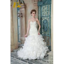 ED Bridal New Product Sweetheart Strapless sem mangas Lace-up bainha Vestidos de noiva com contas Appliqued 2017