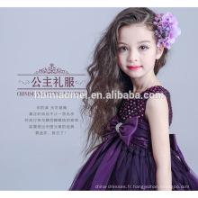 Nouvelle mode une pièce bébé fille princesse robe de soirée violet couleur fleur robe de bal bébé fille robe de soirée