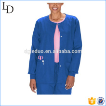 O neck with button chemical resistant lab coat hospital for women
