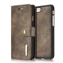 Portefeuille multi-fonctions en cuir PU amovible avec étui pour fente pour carte pour Iphone 7