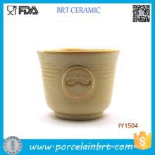 Tigela de barbear cerâmica padrão bonito bigode