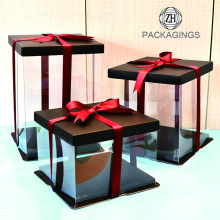 Black Cake Box transparente Custome hecho