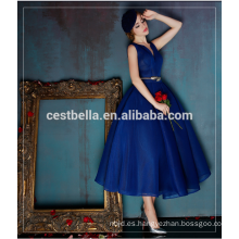 Mujeres Moda Reino Unido EE.UU. de primera calidad vestido de noche azul real Maxi Vintage vestido Boutique vestido de celebridad azul real
