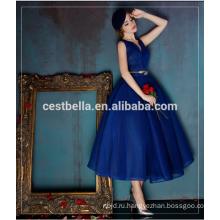 Женская мода Великобритании США высокое качество Королевский синий вечернее платье Макси Винтаж платье бутик Королевский синий знаменитости платье