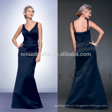 Cheap 2014 Navy Blue Long Mermaid Bridesmaid Dress V-Neck Full-length Satin Prom Evening Gown With Pleats Wholesale China NB0724