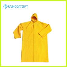 Wasserdichter gelber PVC-Polyester-Sicherheits-langer Regenmantel Rpp-017