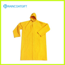Imperméable imperméable long de sécurité jaune de polyester de PVC Rpp-017