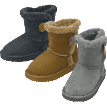 Kids Fashion button children's haft snow boots to keep warm