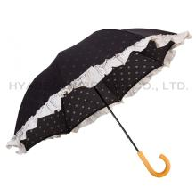 Ruffle Lace Manual Open Straight Umbrella Parasol