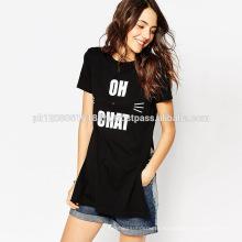 women printed long length cotton top t shirt
