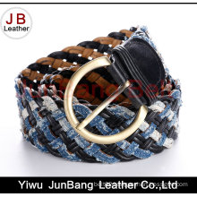 Fashion Ladie′s Bonded Leather Braid Belt with Denim Material