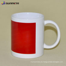 11 oz sublimación taza blanca con color rojo patch cambio Sunmeta en yiwu