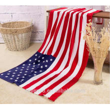 100% cotton American flag design beach towels