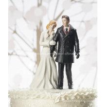 Personalizado de boda de invierno Wonderland Couple Figurine Cake Topper