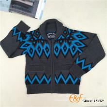 Shawl Collar Symmetrical Patterns Conccaled Pocket Zipper Cardigan Sweater for Boy