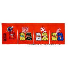 Custom Made Cute Cartoon Maneki Neko Impressão Bordada e Applique Algodão Design Japonês Cortina de porta